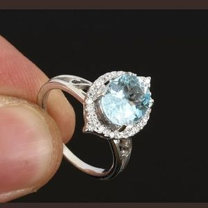 Aquamarine set earrings & ring 6.5
